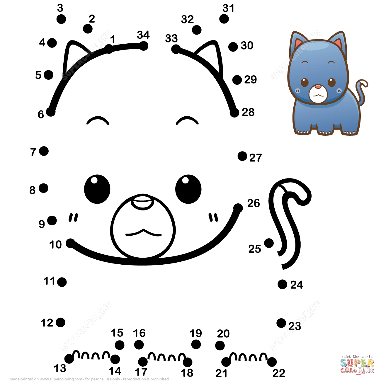 Cute Baby Cat Dot To Dot