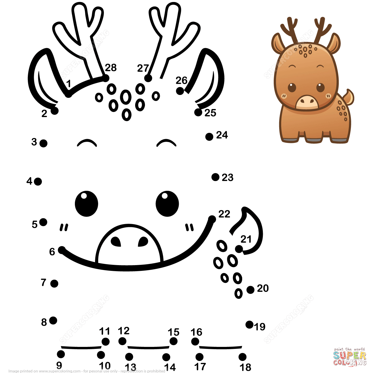Cute Baby Deer Dot To Dot