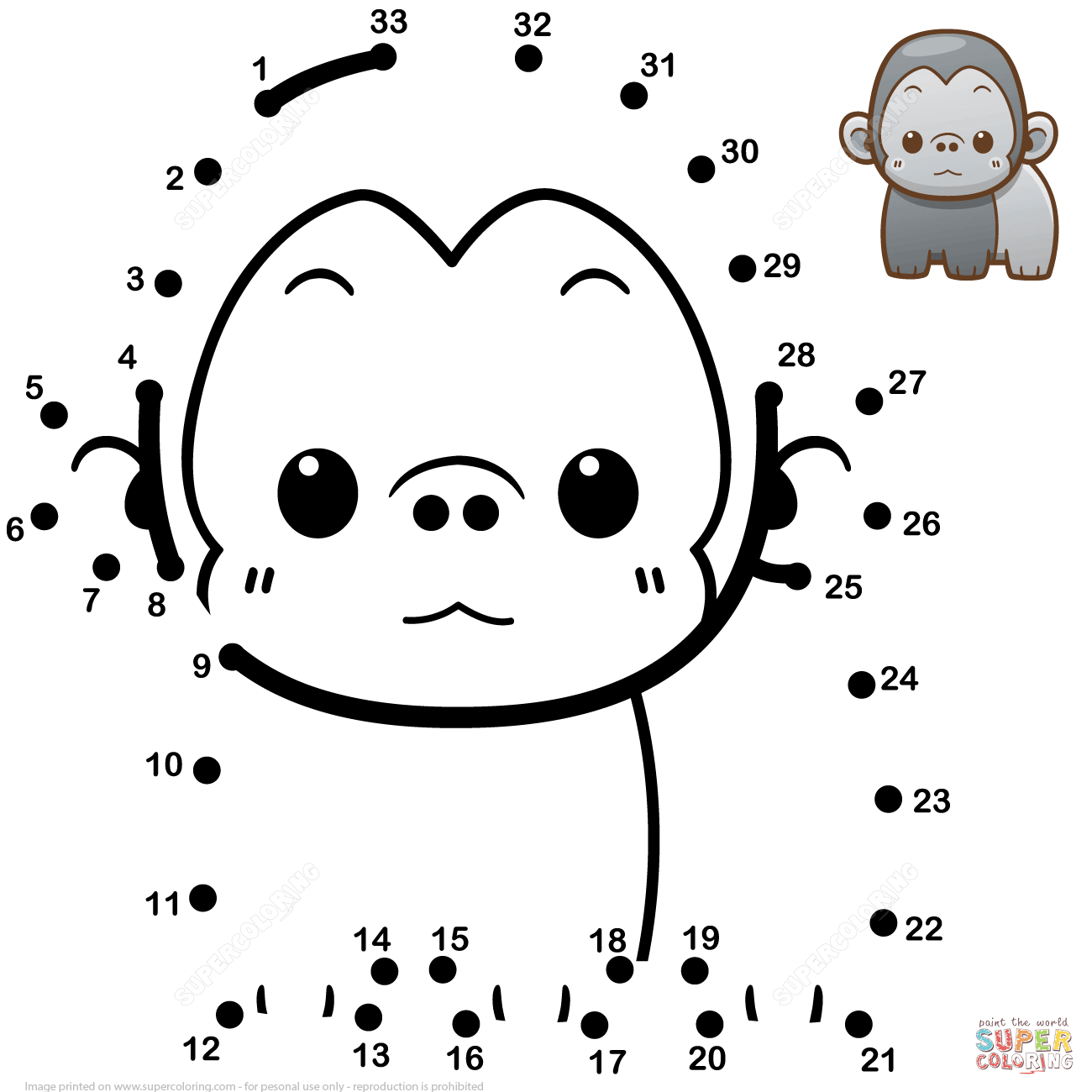 Cute Baby Gorilla Dot To Dot