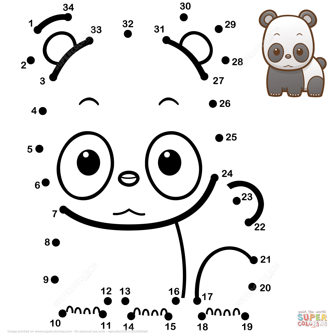 Cute Baby Panda Dot To Dot
