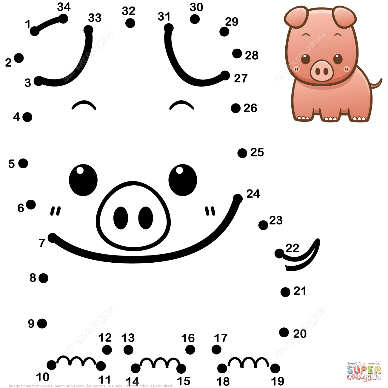 Cute Baby Pig Dot To Dot
