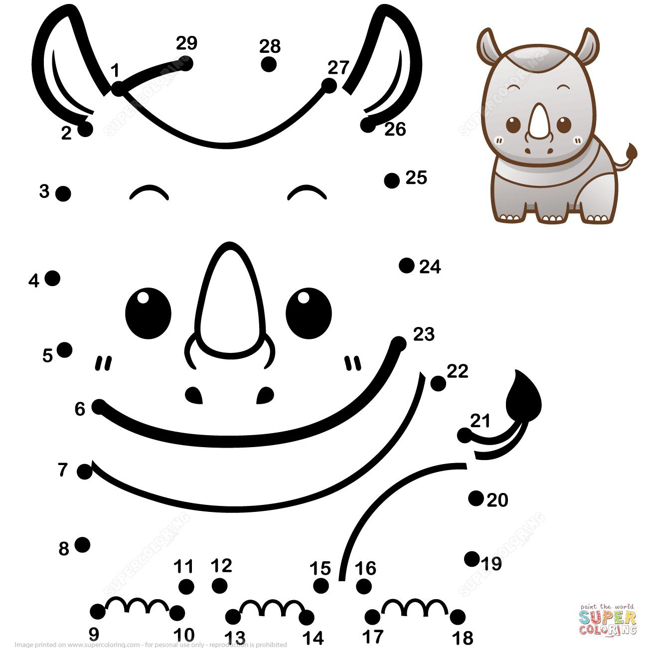 Cute Baby Rhino Dot To Dot