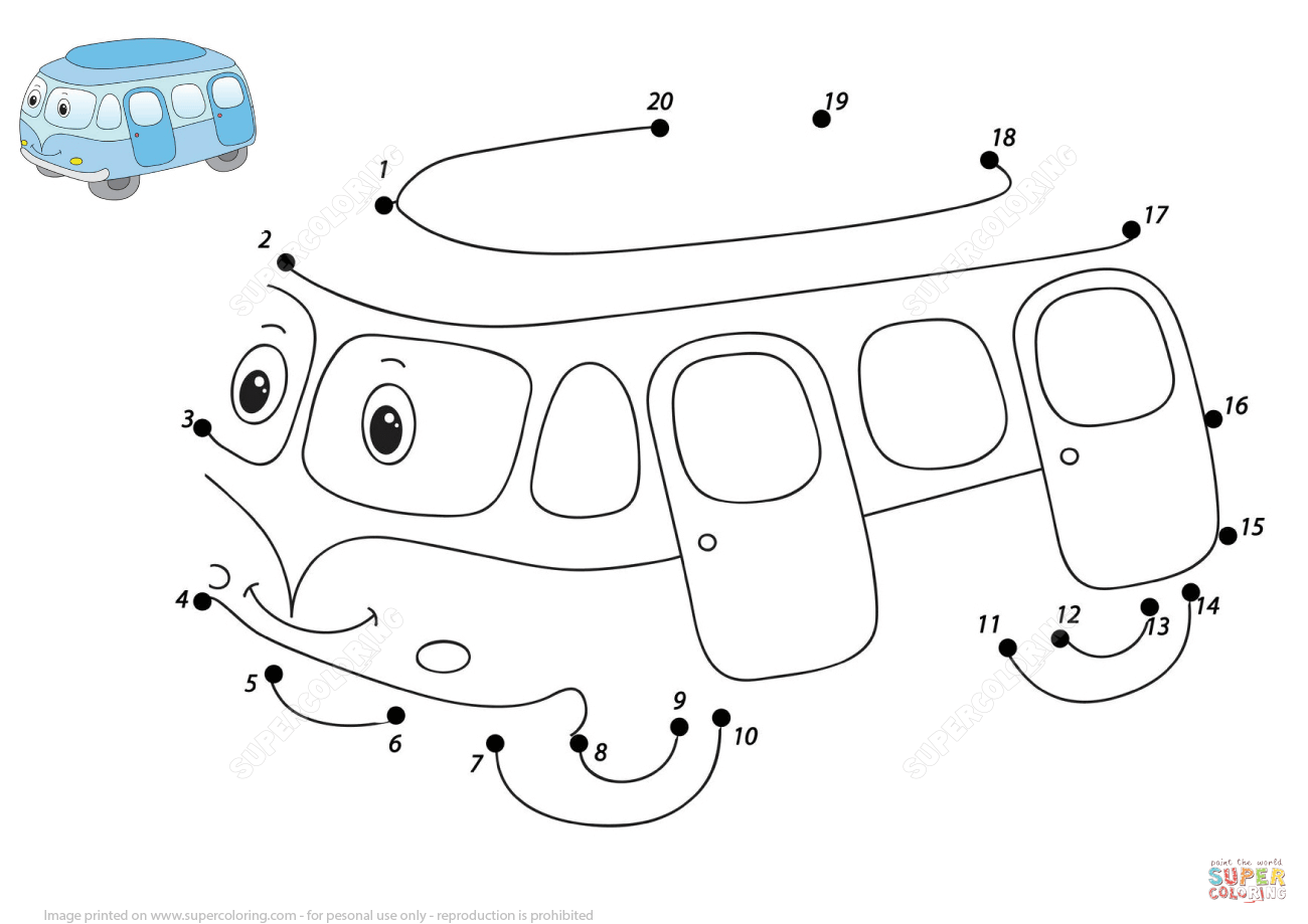 Cute Cartoon Bus 1 20 Dot To Dot