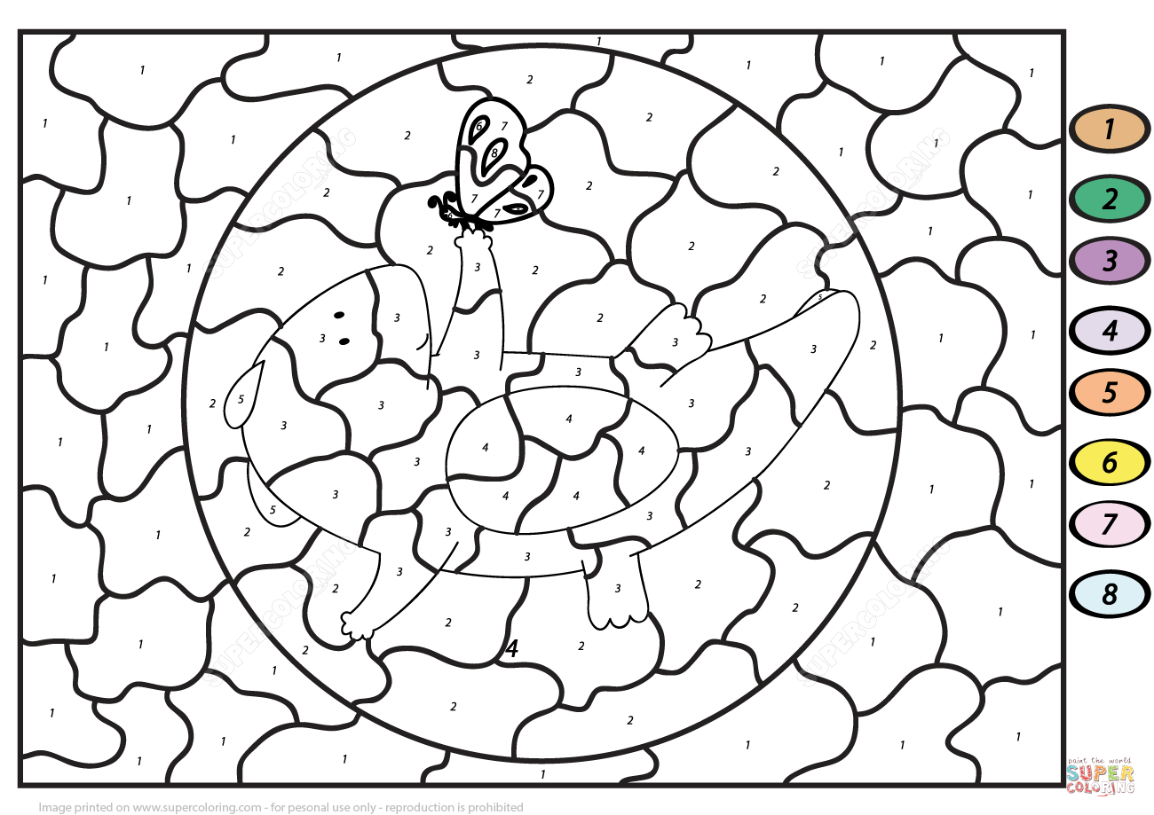 cute dragon with butterfly color by number coloring page free
