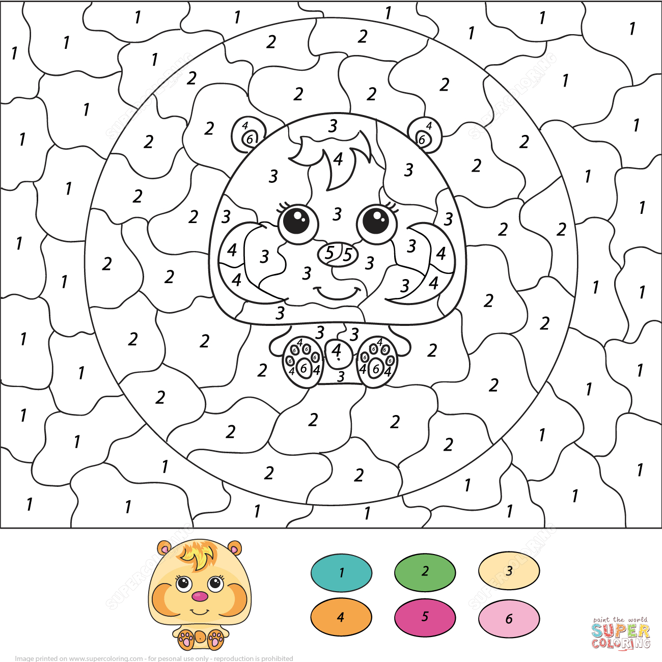 Cute Hamster Color By Number