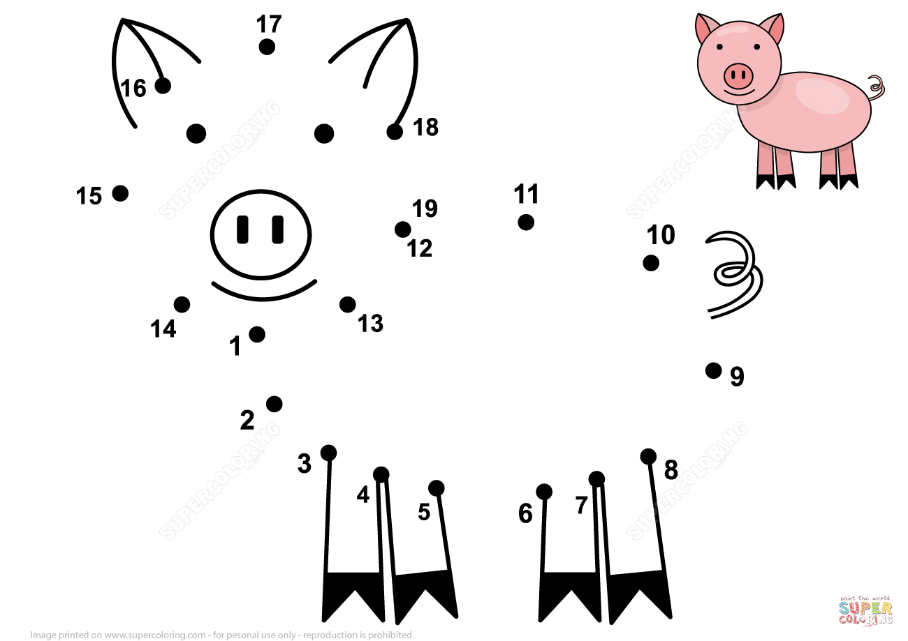 Cute Little Pig 1 19 Dot To Dot