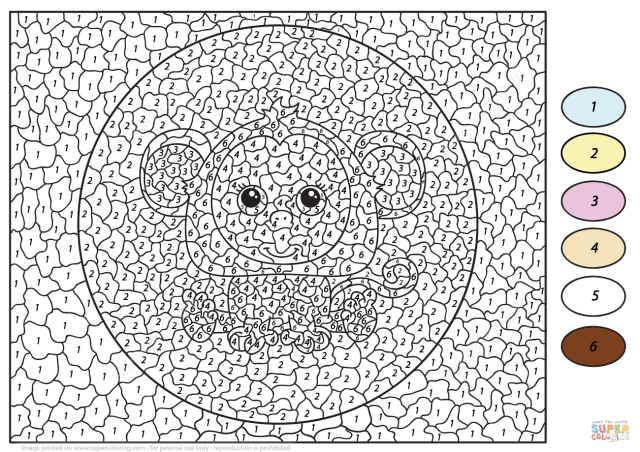 Cute Monkey Color by Number  Free Printable Coloring Pages