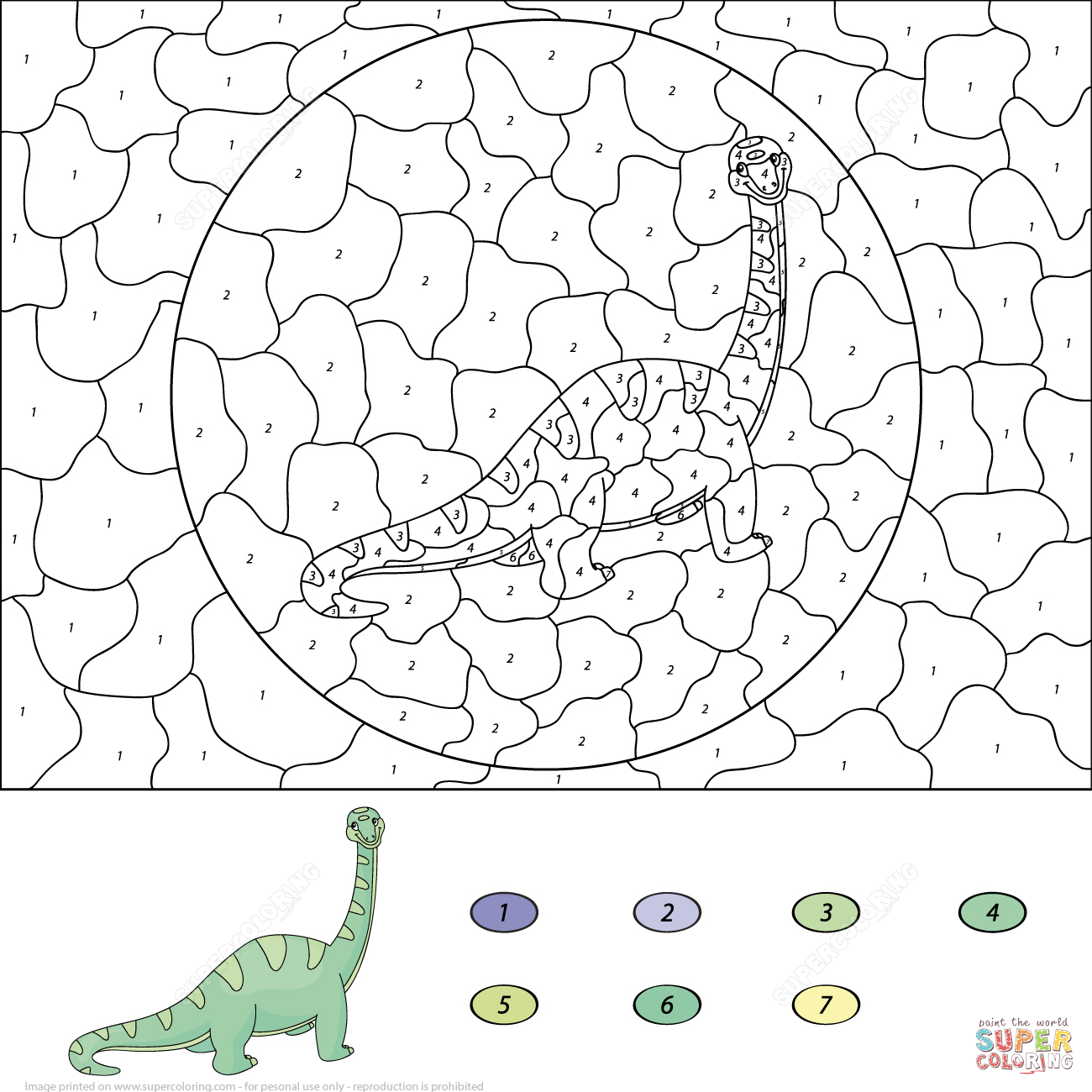 Tags Dinosaurs Color By Number Coloring Pages Printable