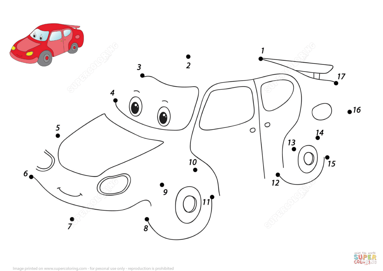Funny Cartoon Car Dot To Dot