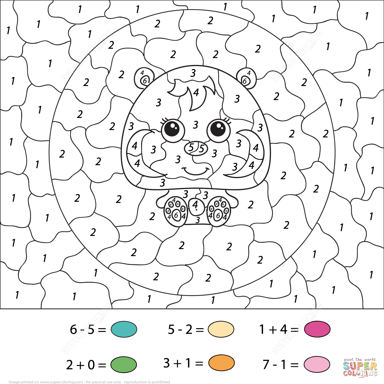 Hamster Calculation Color By Number Free Printable Coloring Pages Download
