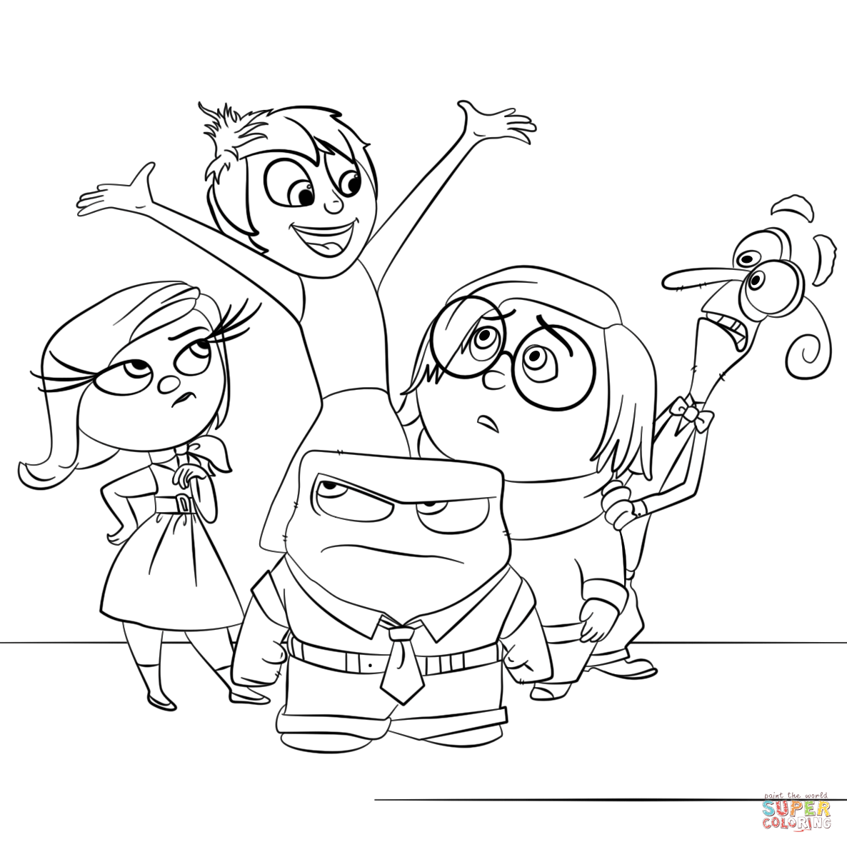 Inside Out All Characters Coloring Page