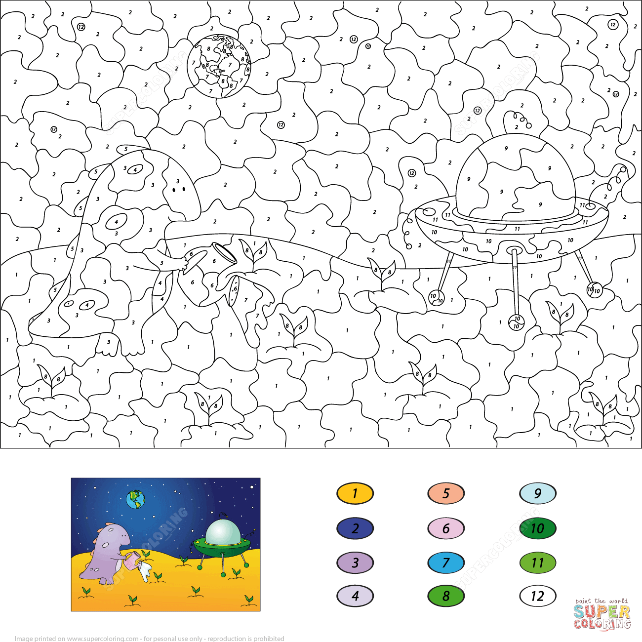 Purple Dragon Watering Plants On The Moon Color By Number