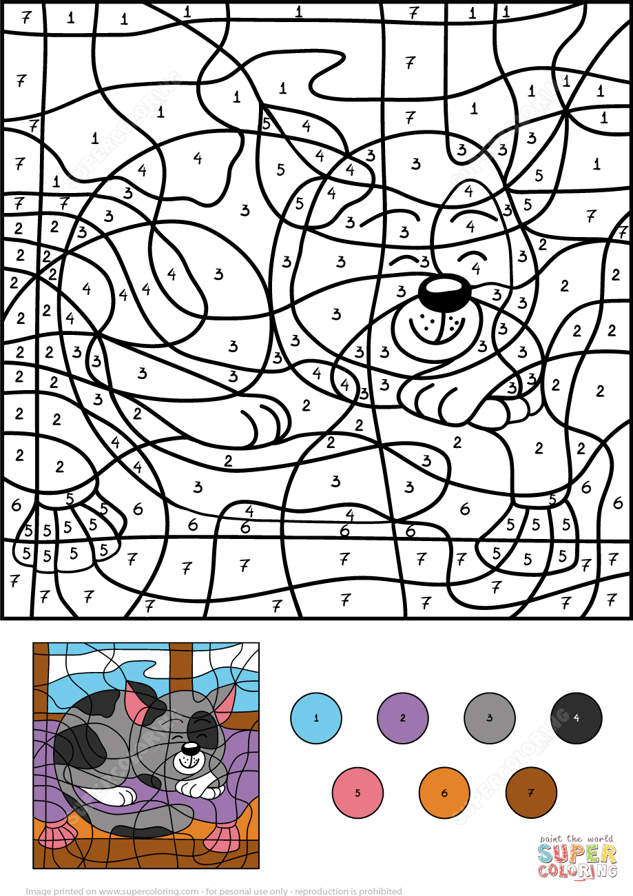 sleepy cat color by number coloring page free printable coloring