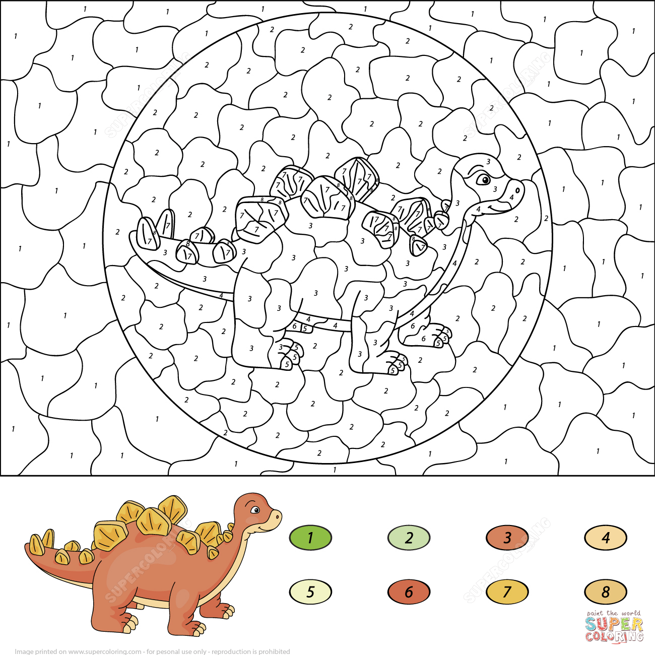 Stegosaurus Color By Number