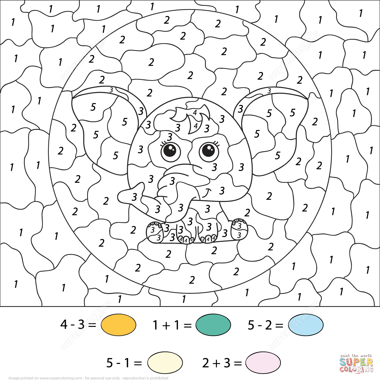 elephants color by number coloring page free printable coloring