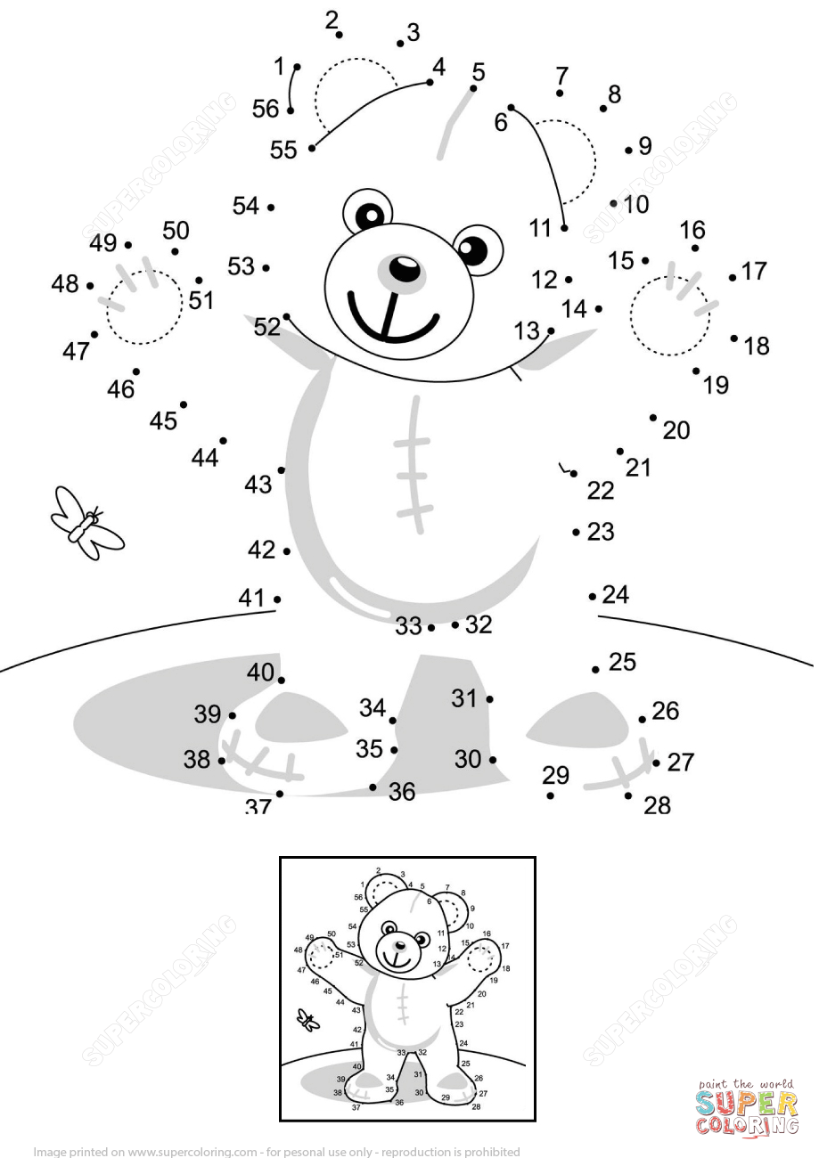 Teddy Bear Dot To Dot Free Printable Coloring Pages