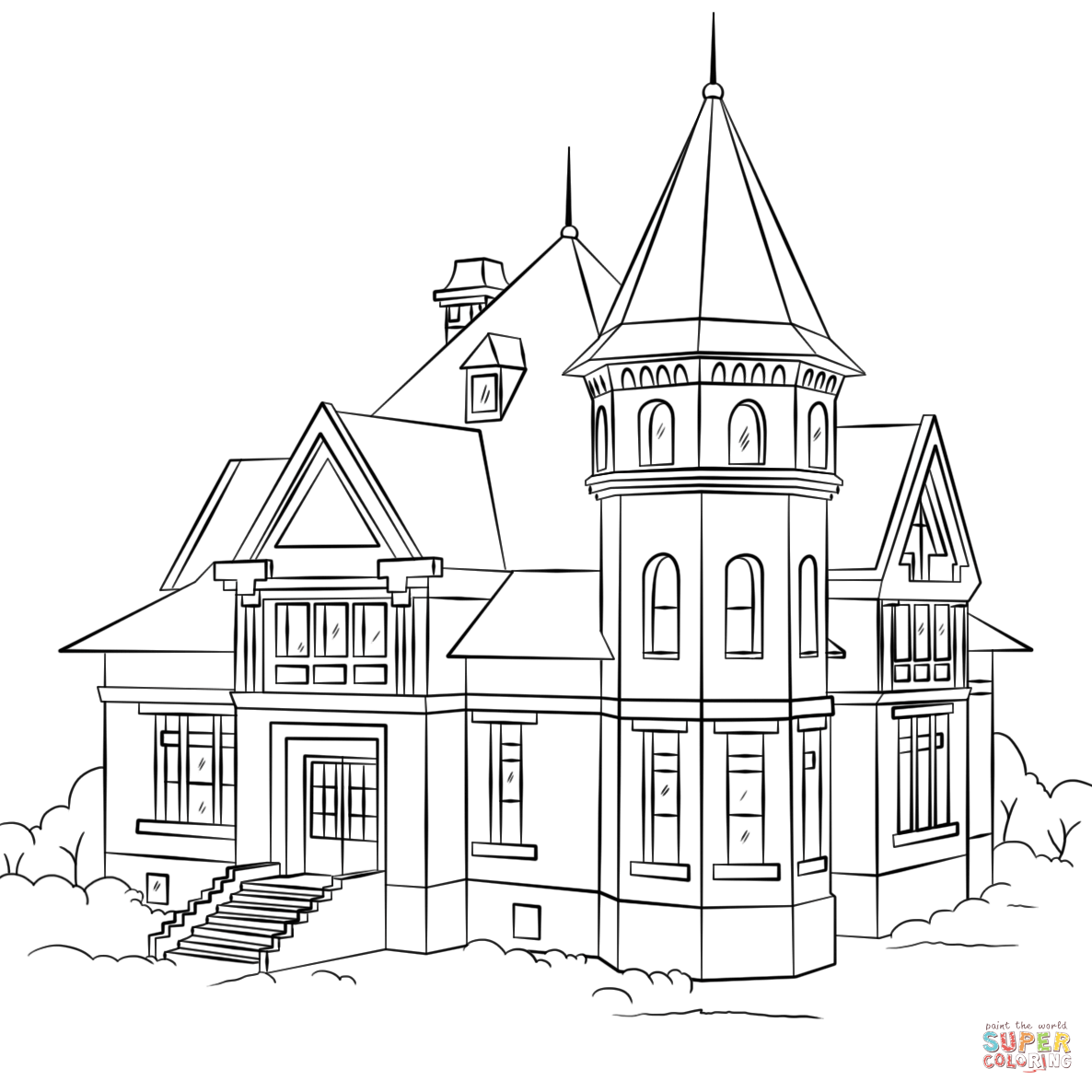 victorian house coloring page free printable coloring pages