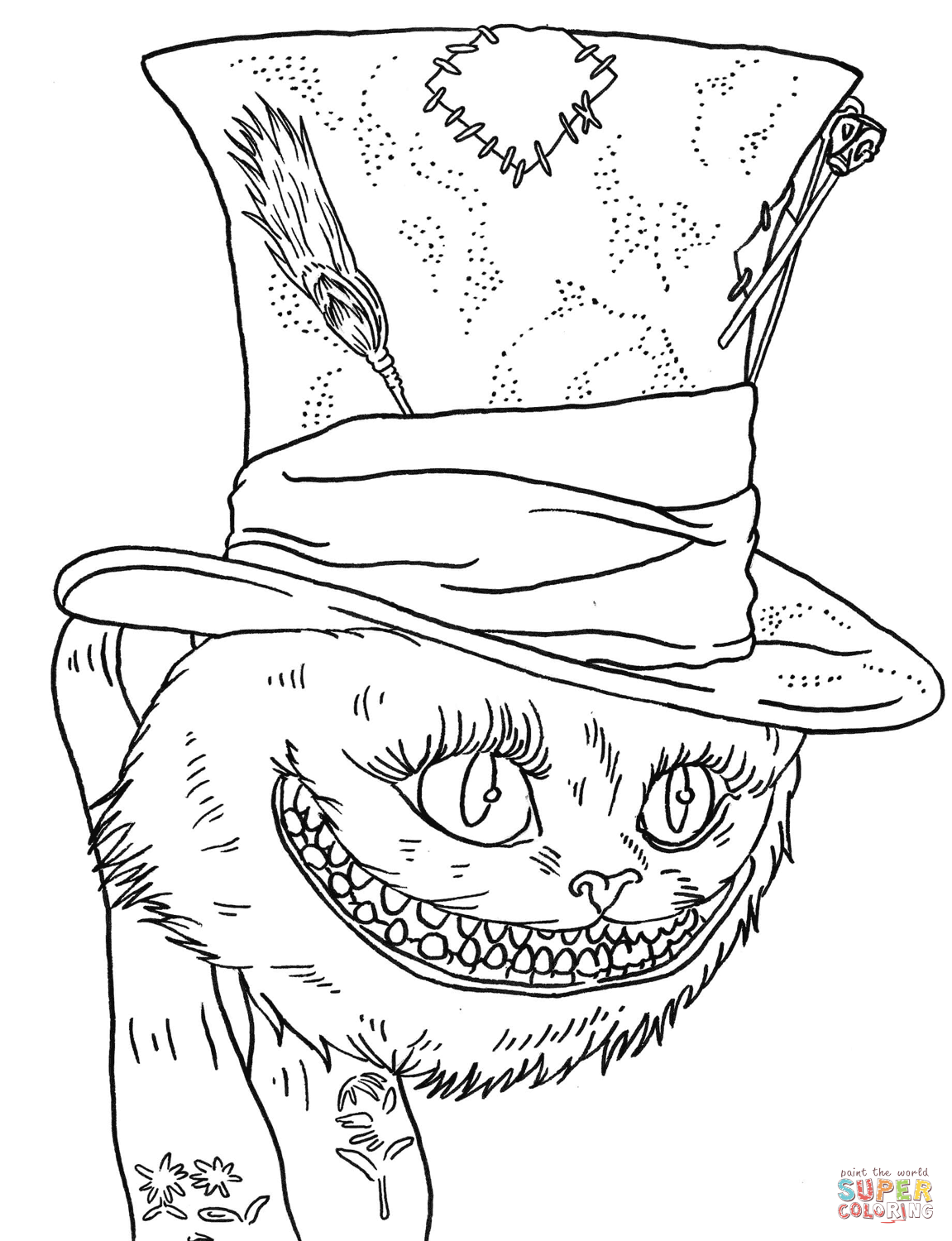 Tim Burtons Cheshire Cat Coloring Page Free Printable
