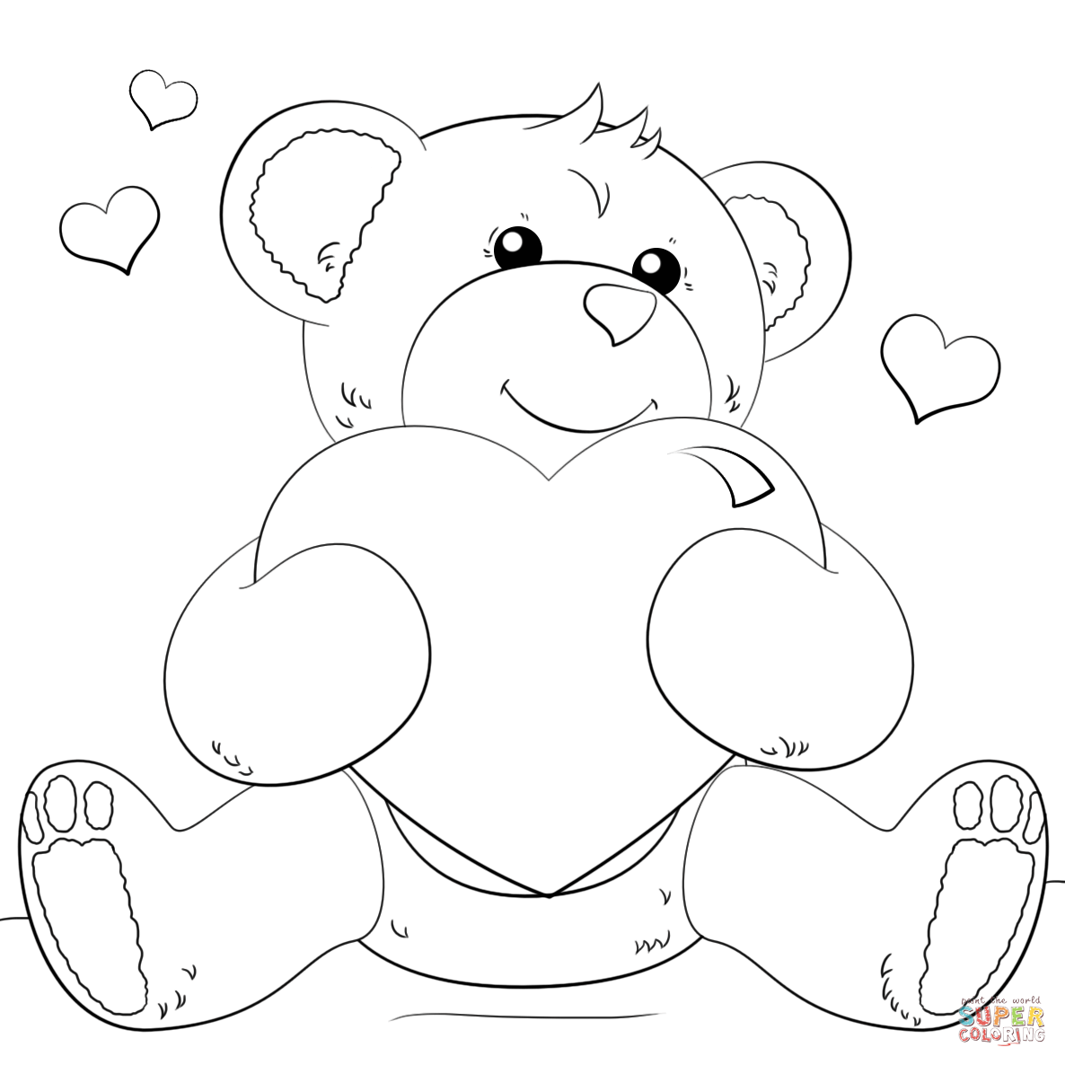 Cute Bear With Heart Coloring Page