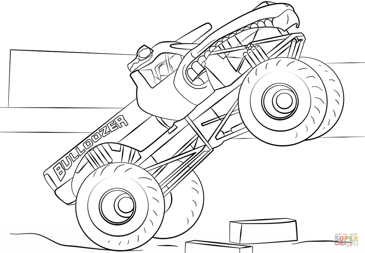 Ausmalbild Bulldozer Monster Truck