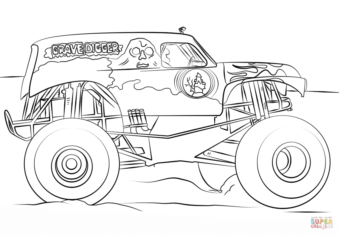 grave digger monster truck coloring page free printable coloring