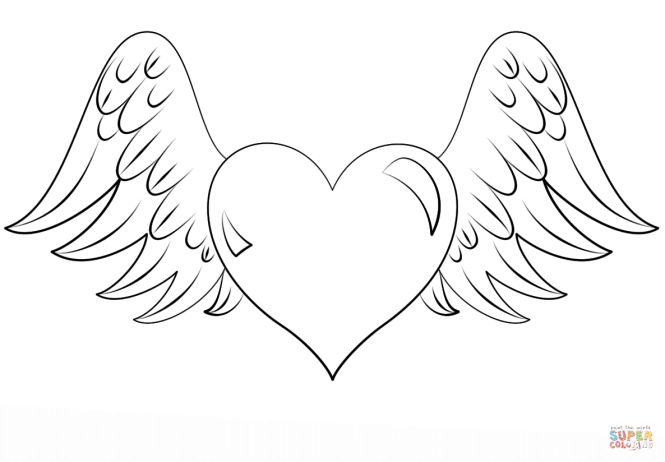 hearts with wings coloring pages | Coloring Page for kids