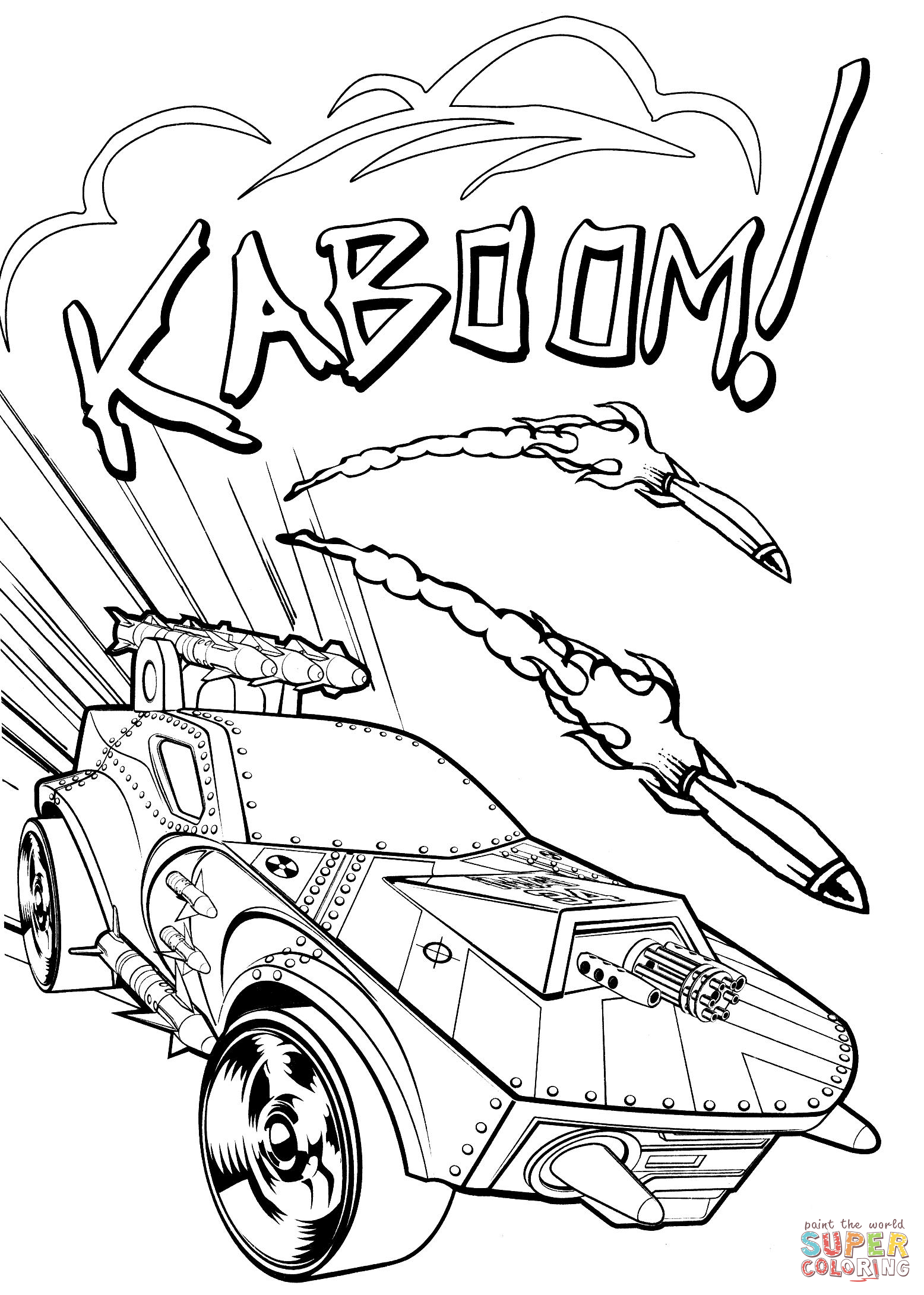 Hot Wheels Kaboom Coloring Page