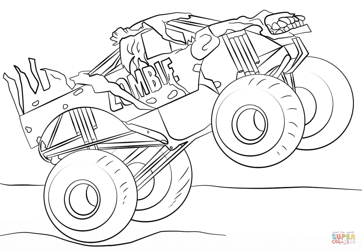 Zombie Monster Truck Coloring Page Free Printable Coloring Pages