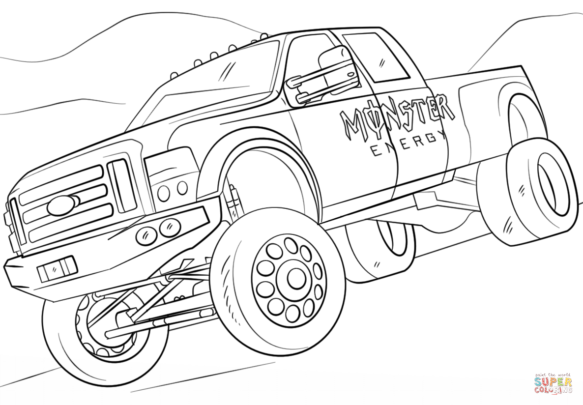Monster Energy Monster Truck Coloring Page