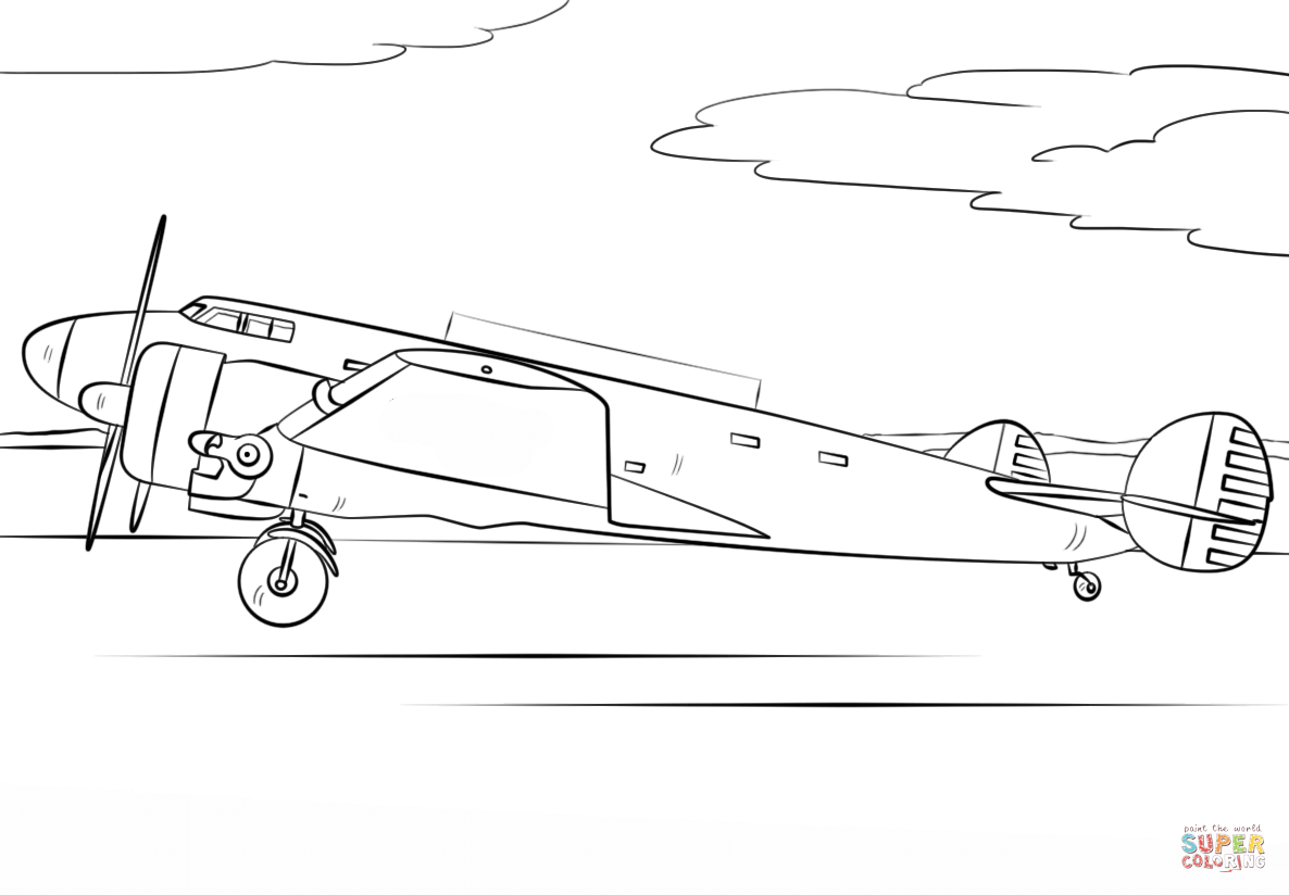 Amelia Earhart Airplane Coloring Page
