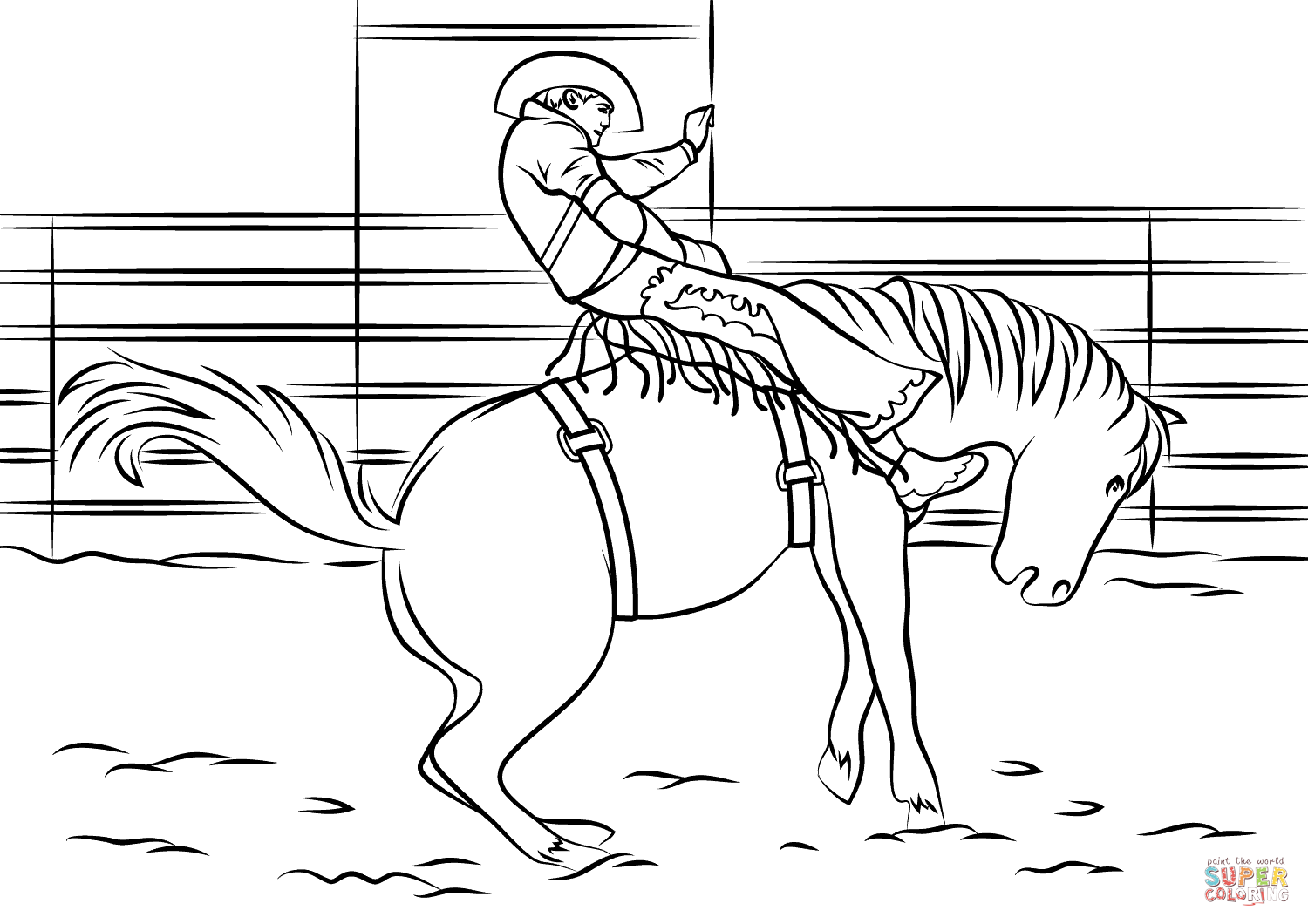 Saddle Bronc Rodeo Coloring Page