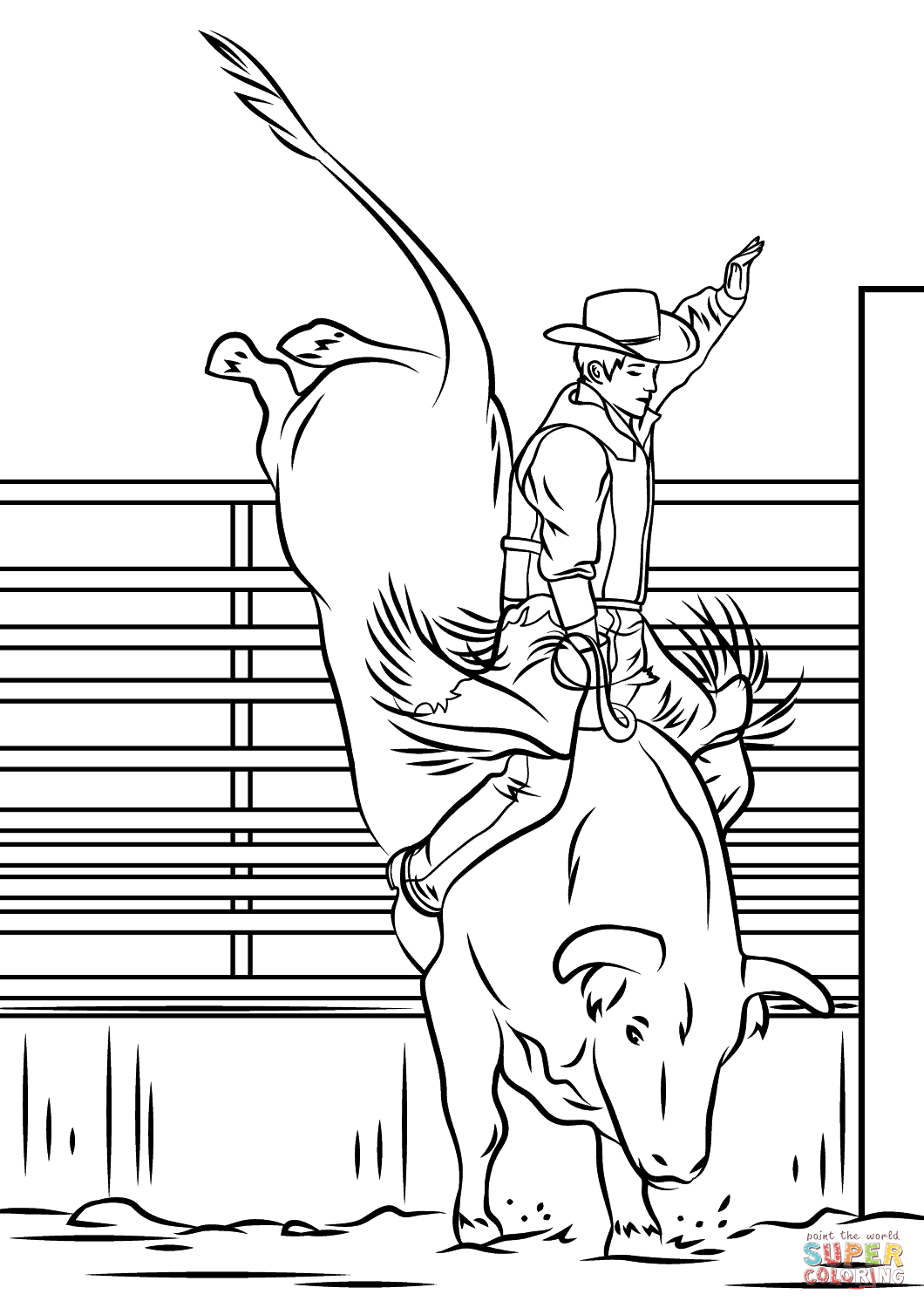 Bull Riding Rodeo Coloring Page