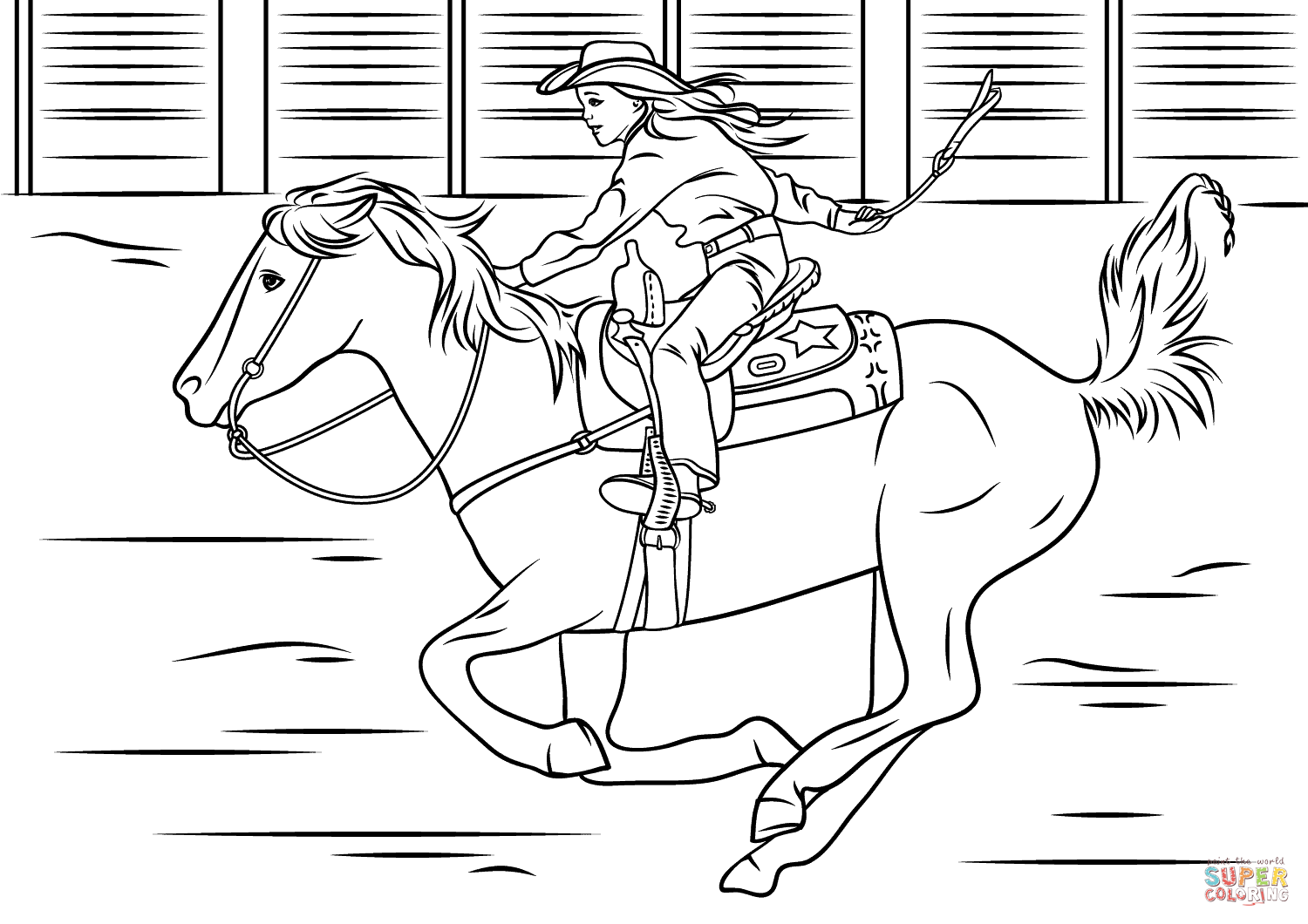 Cowgirl Riding Horse Coloring Page