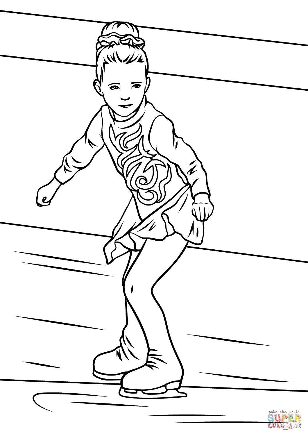 Girl Ice Skater Coloring Page Free Printable Coloring Pages