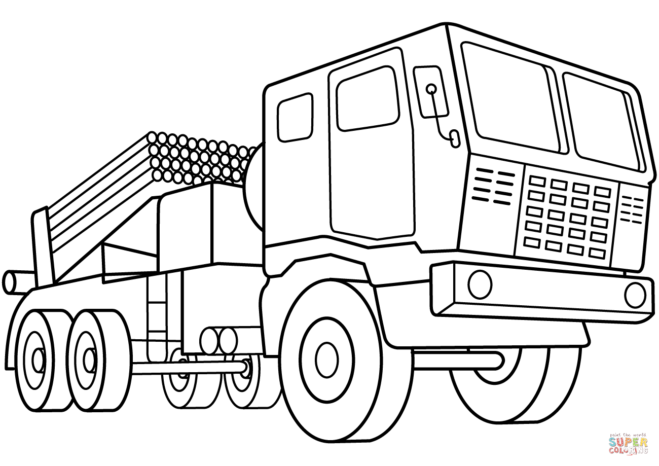 Multiple Rocket Launcher Vehicle Coloring Page