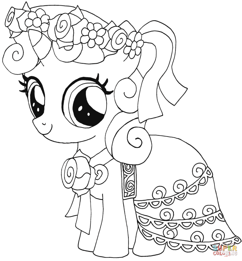 my little pony sweetie belle coloring page  free