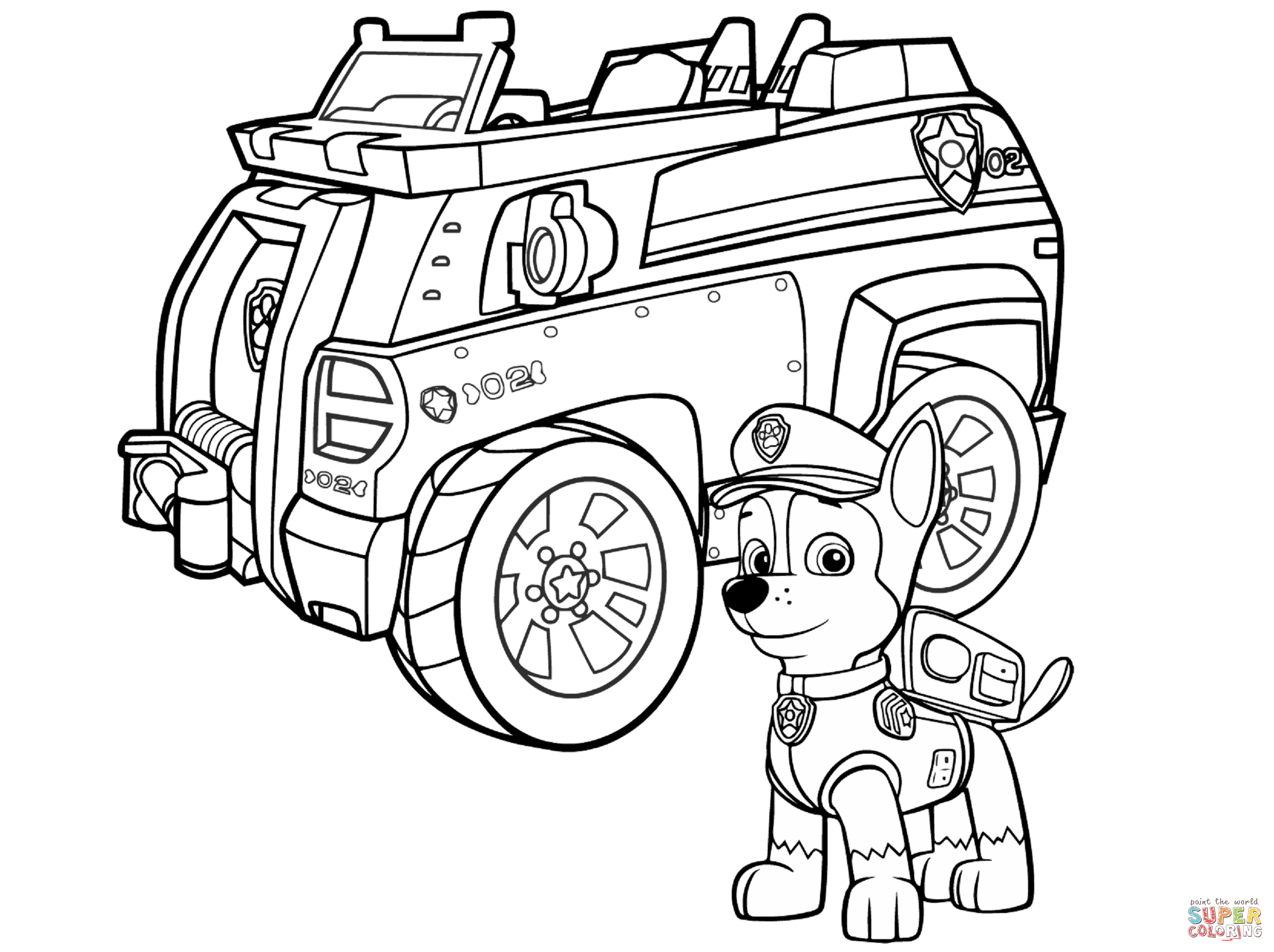 Paw Patrol Chase Police Car Coloring Page Free Printable