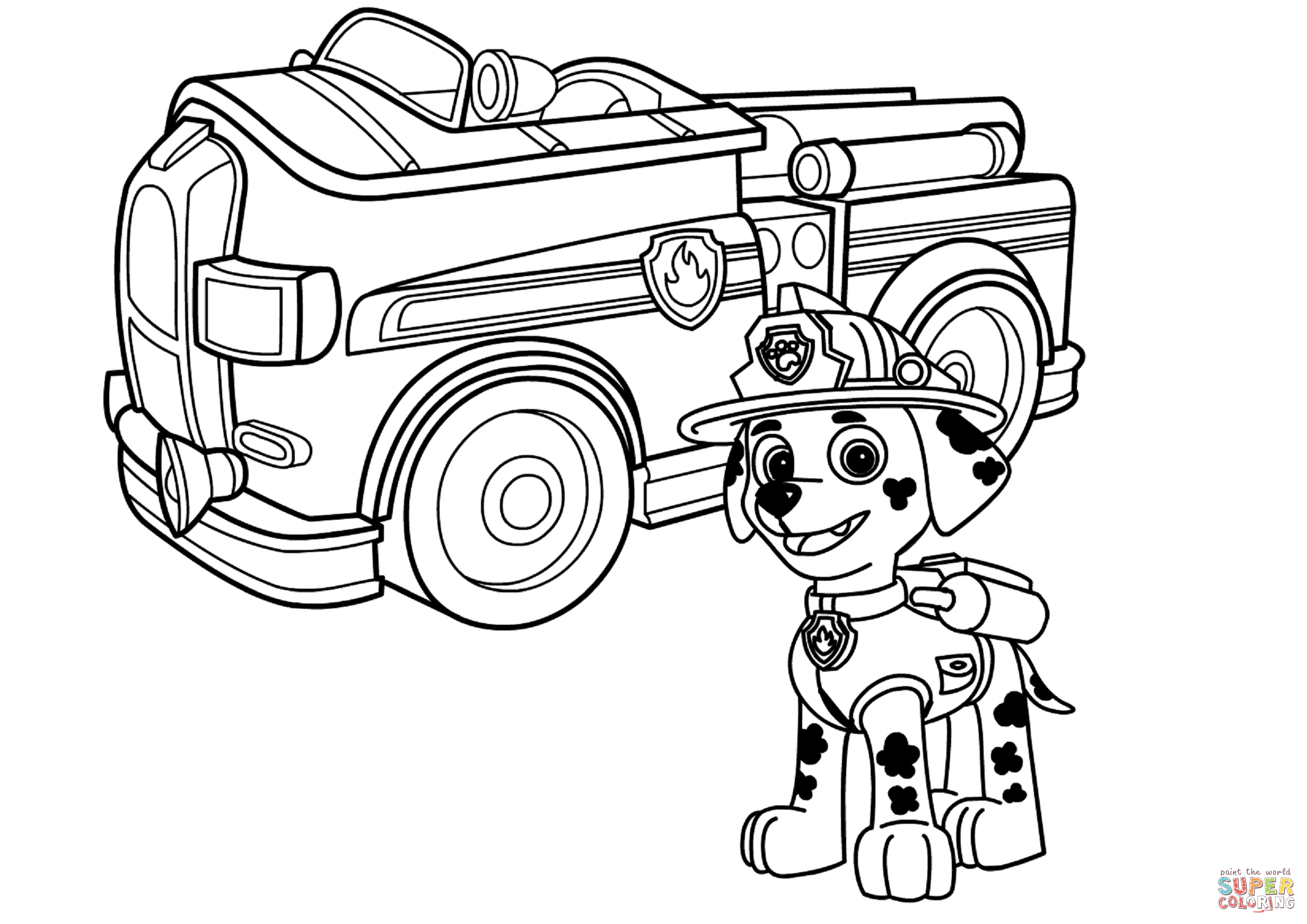 paw patrol marshall with fire truck coloring page free printable
