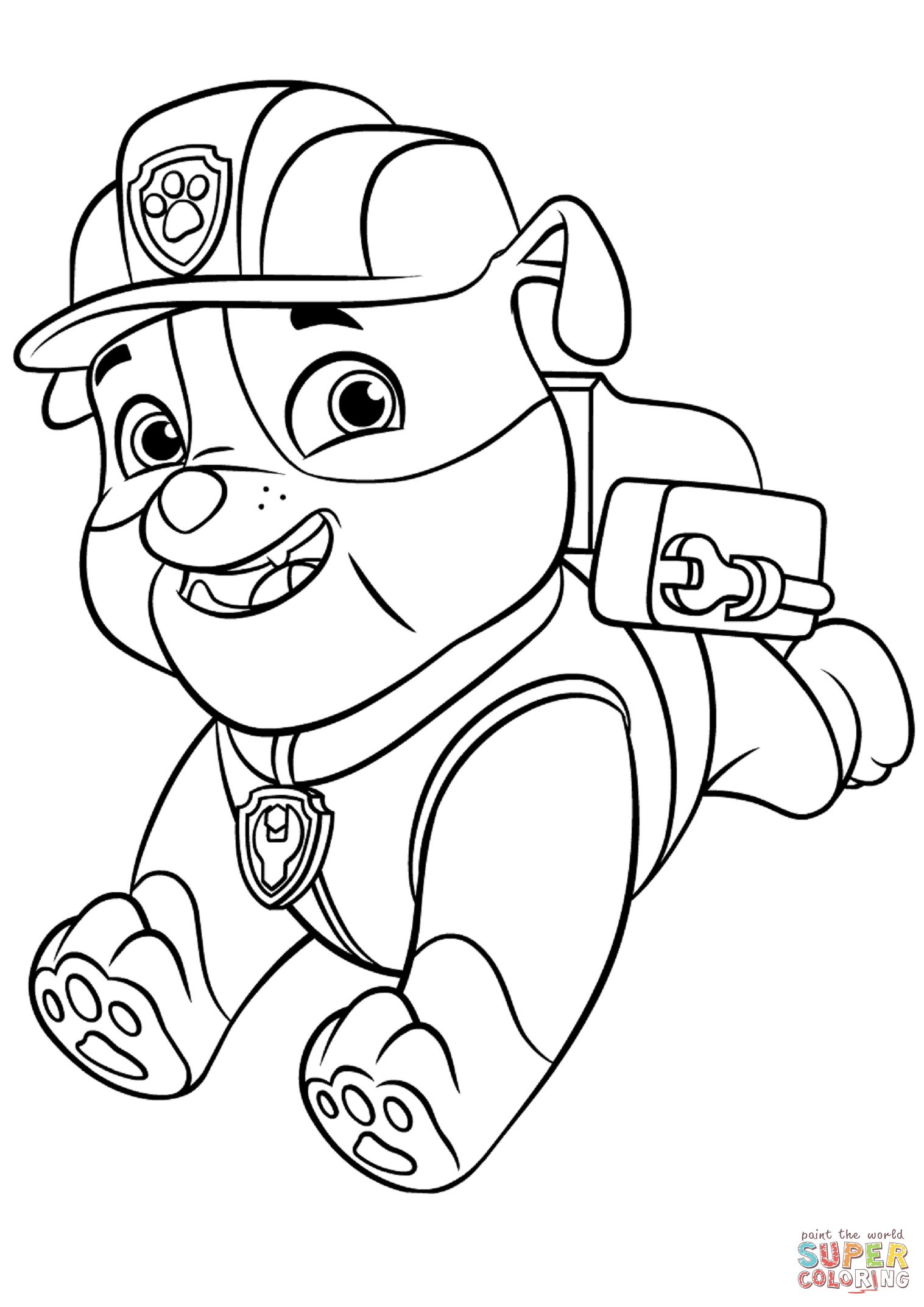 Paw Patrol Rubble With Backpack Coloring Page