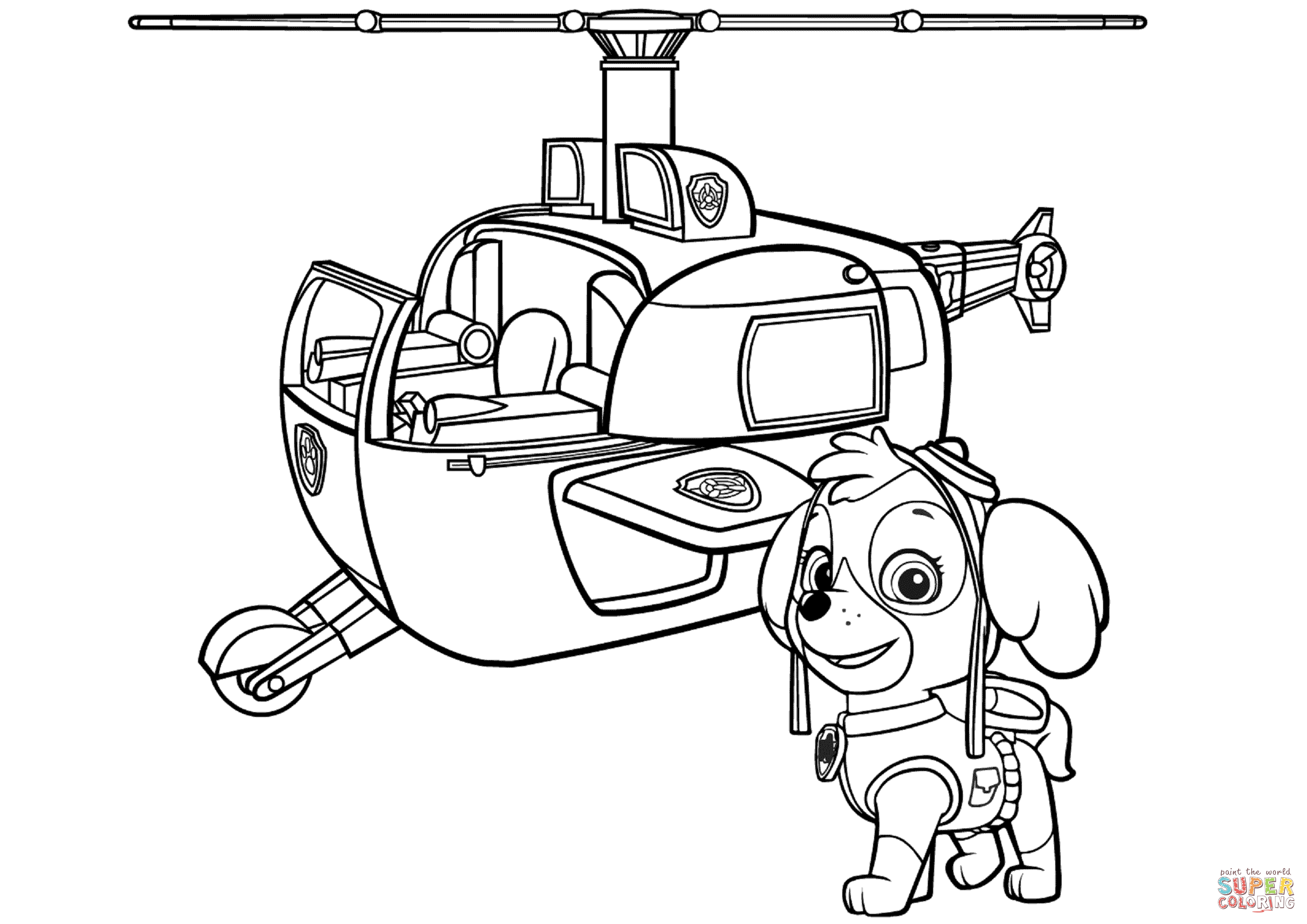 Paw Patrol Skye S Helicopter Coloring Page