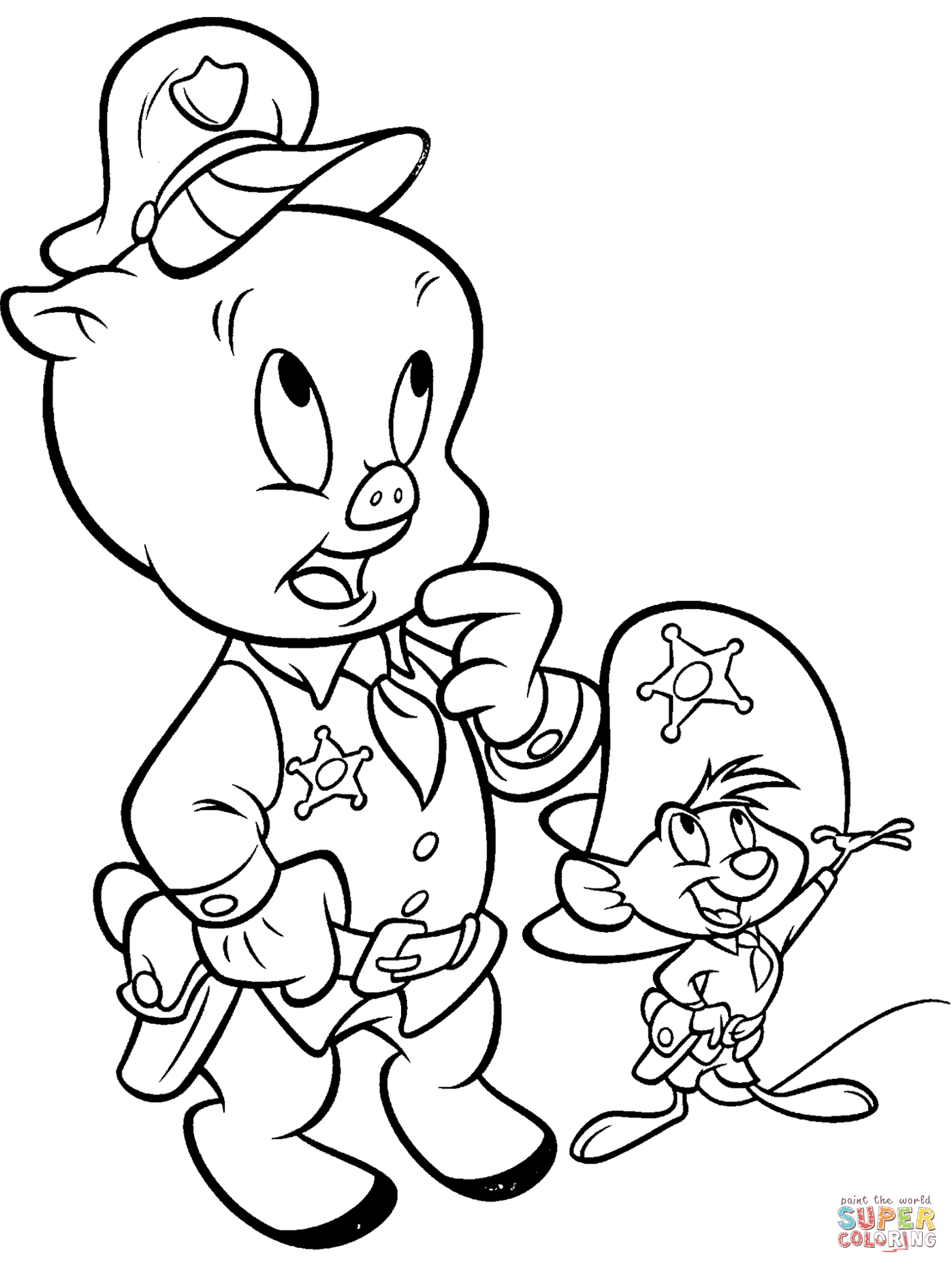 Porky Pig And Speedy Gonzalez Coloring Page