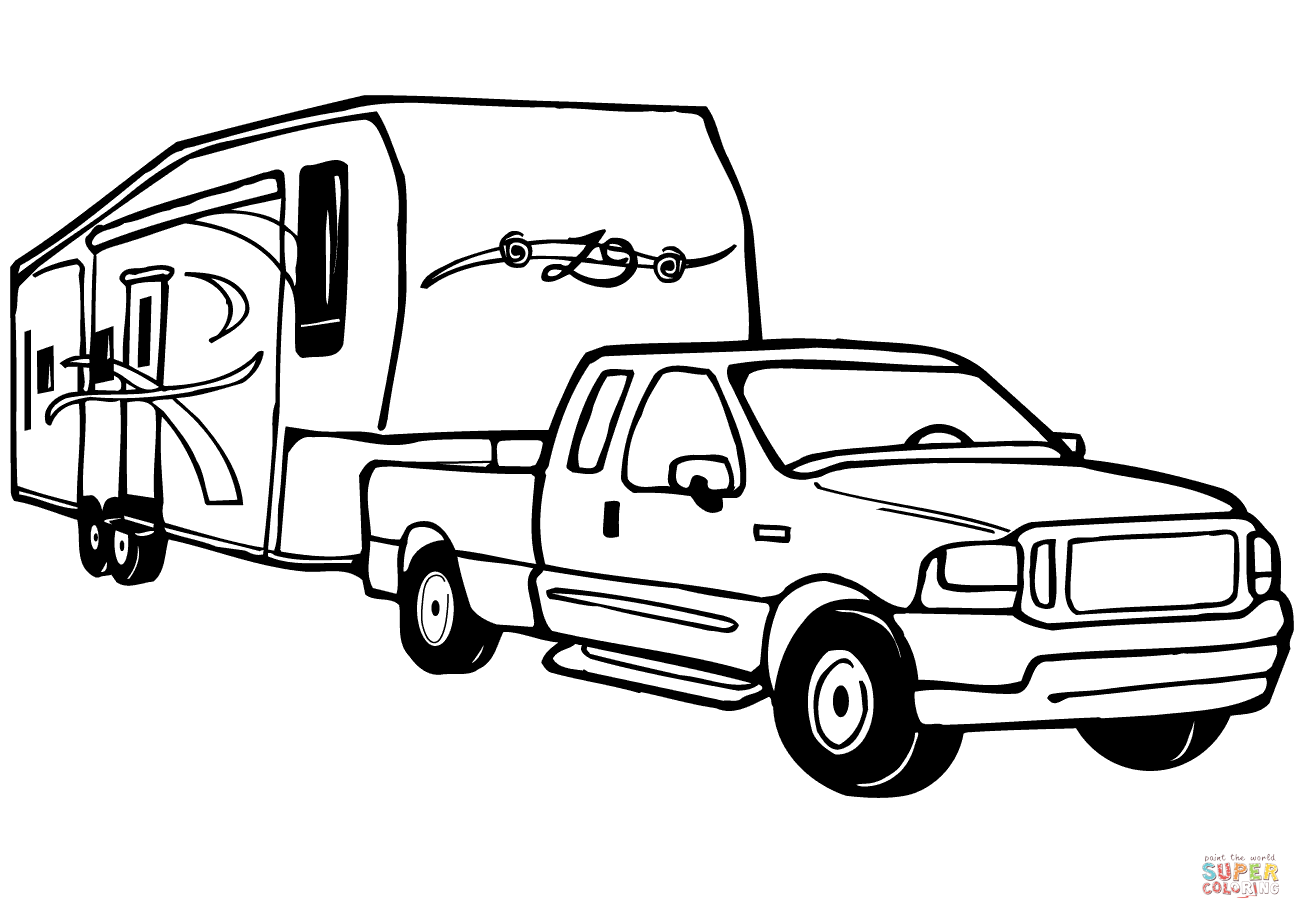 Truck And Rv Camper Trailer Coloring Page