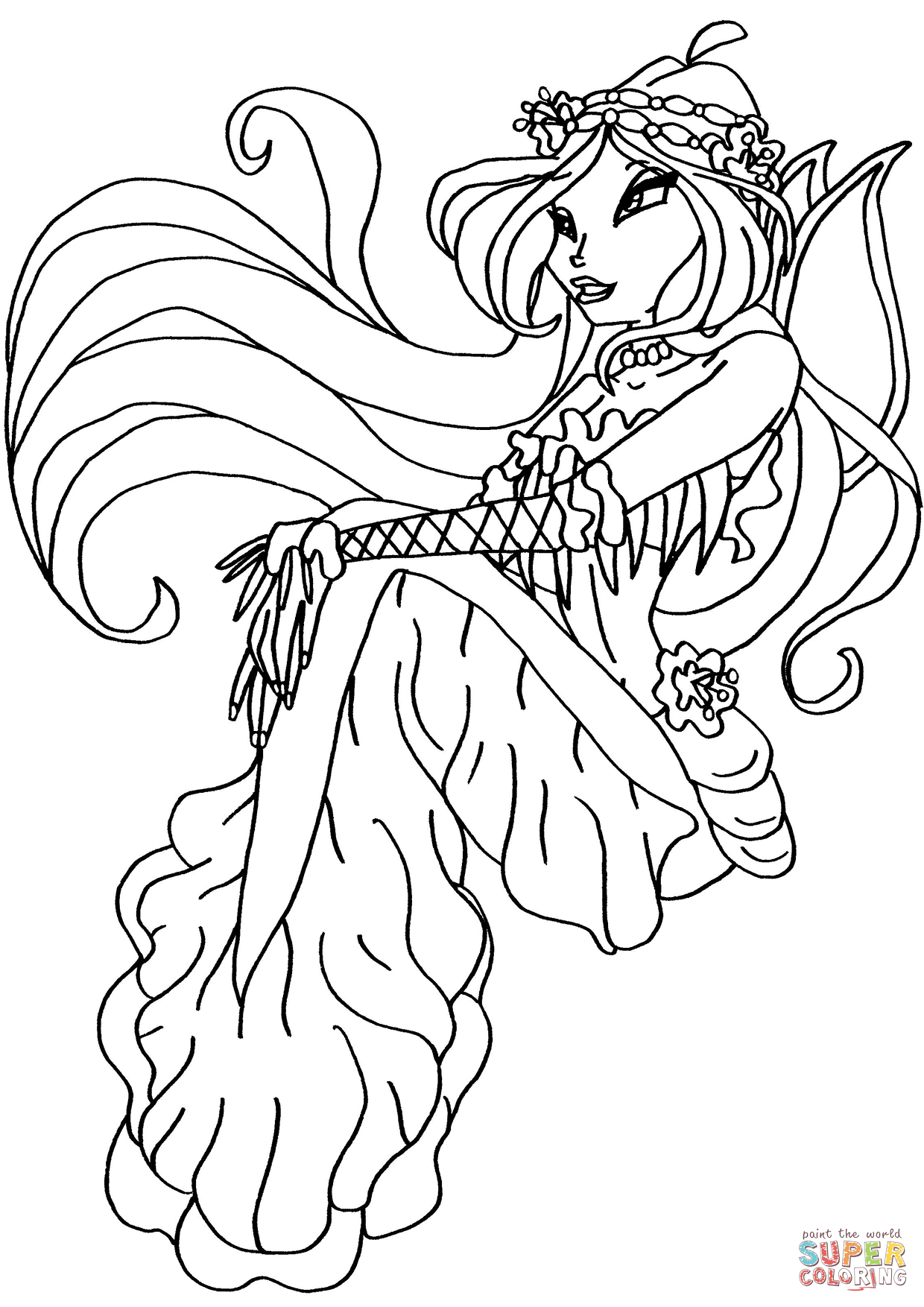 Winx Club Mermaid Flora Coloring Page Free Printable Coloring Pages