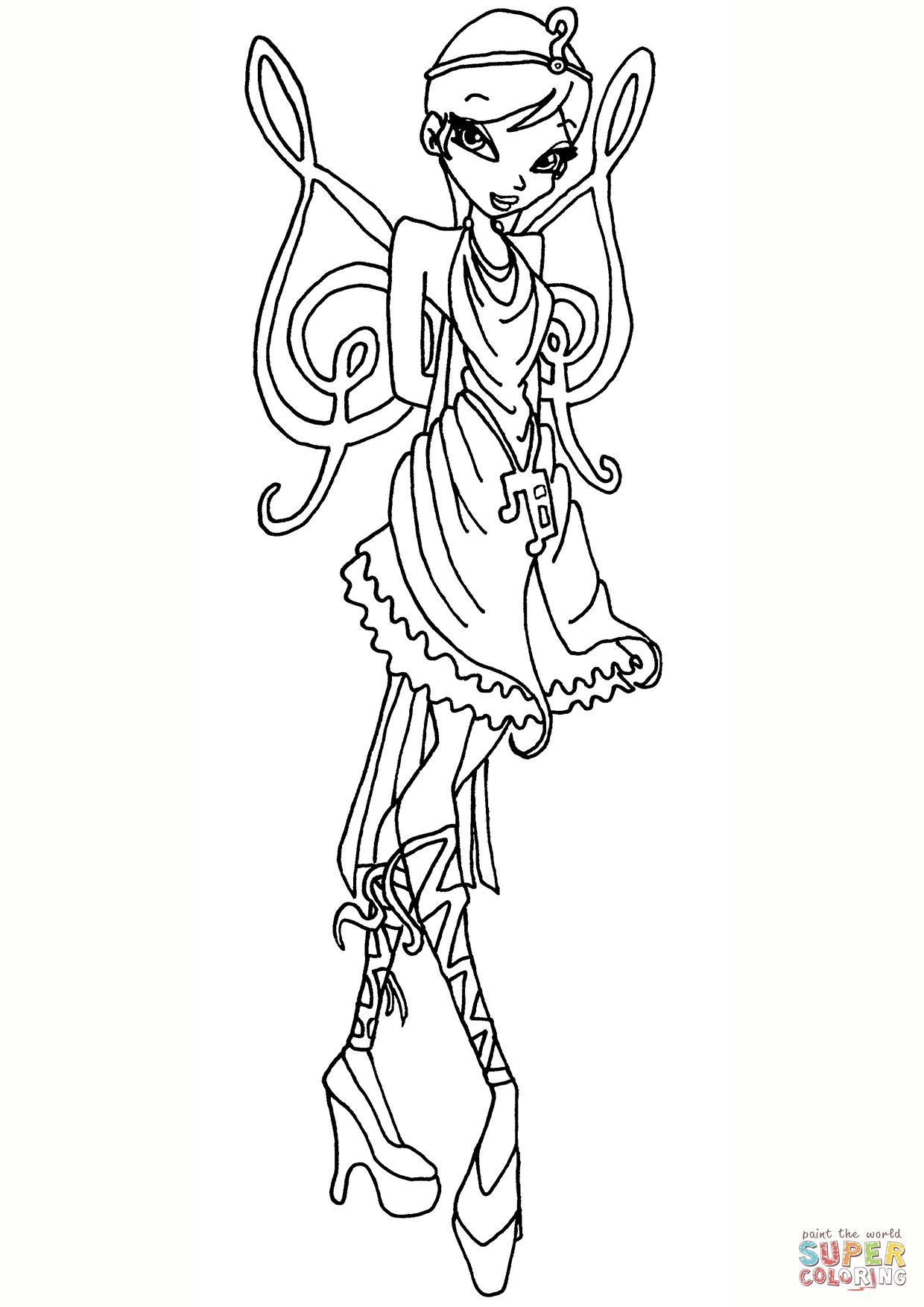 Winx Club Princess Galatea Fairy Coloring Page Free Printable