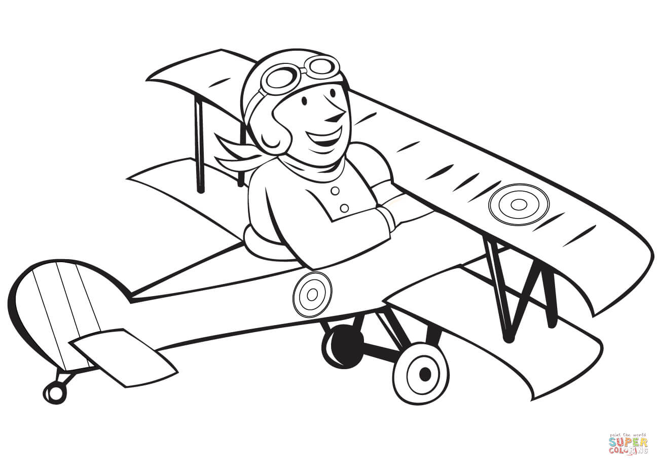 Ww1 French Pilot On Biplane Coloring Page