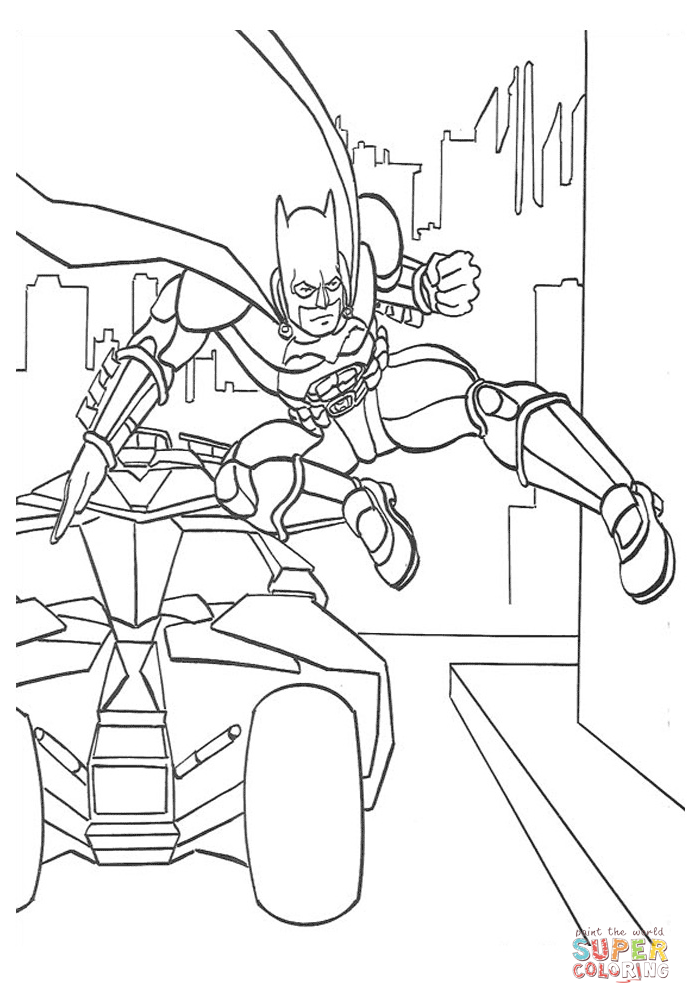 Batman Jumps Out Of His Car Coloring Page Free Printable