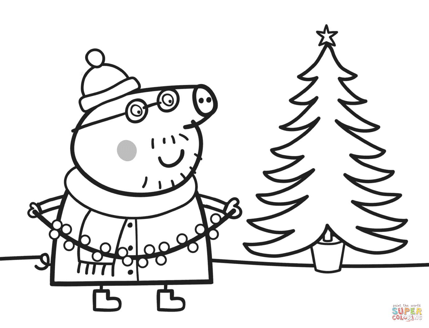 Daddy Pig Decorates Xmas Tree Coloring Page