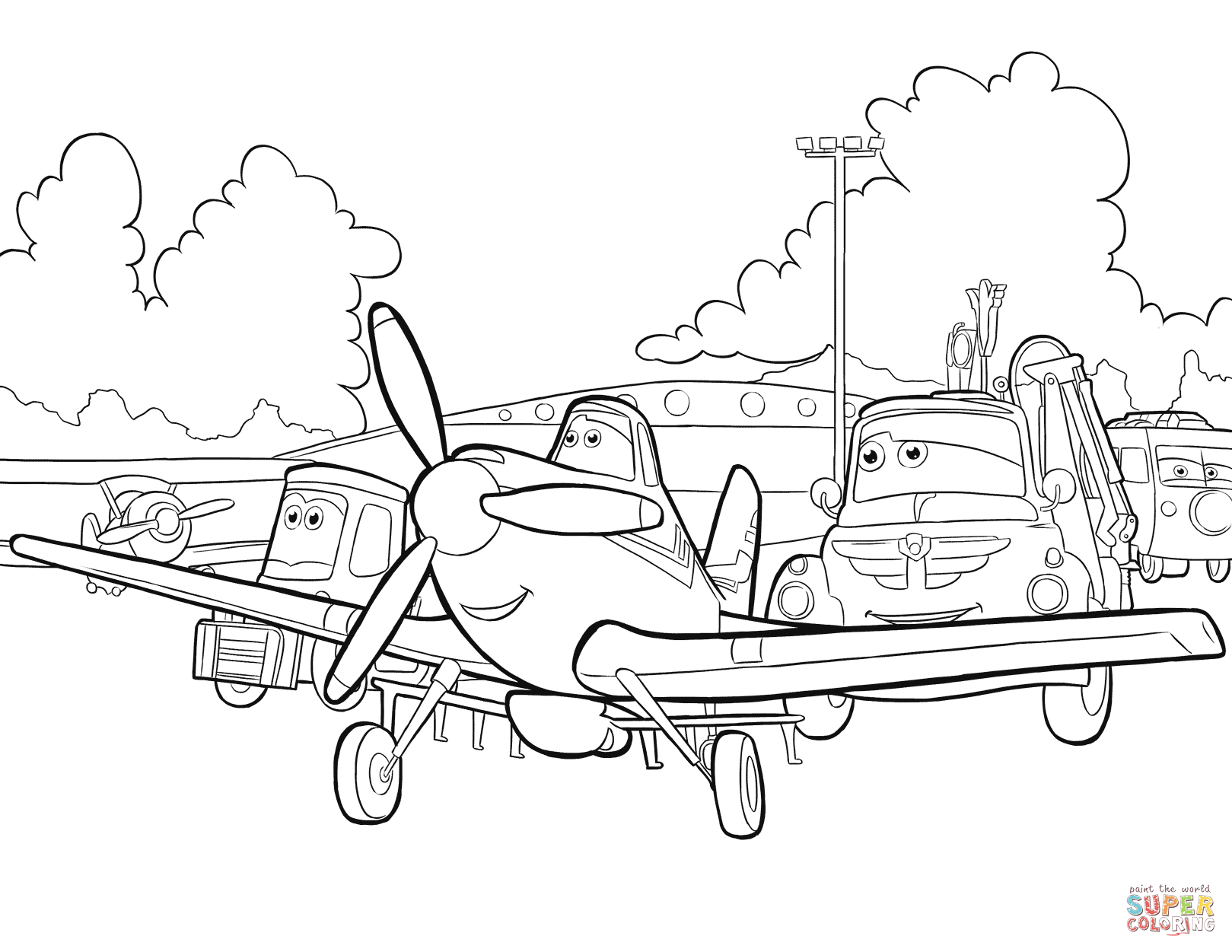 Dusty Chug And Gang Coloring Page