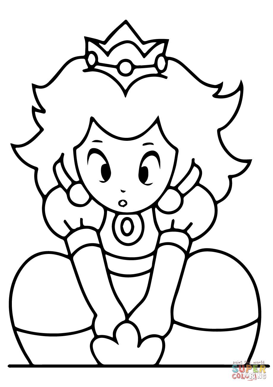 Kawaii Princess Peach Coloring Page Free Printable Coloring Pages