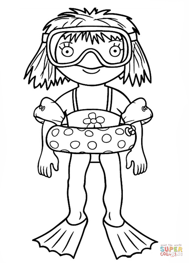 Little Princess Goes Snorkeling Coloring Page Free